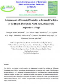Determinants De La Mortalite Neonatale Dans Les Centres Specialises Des Districts Du Nord Kivu 1