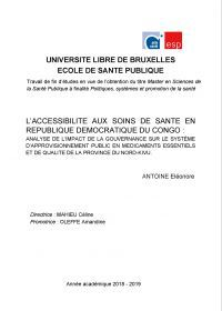 Pages De Laccessibilite Aux Soins De Sante En Rdc
