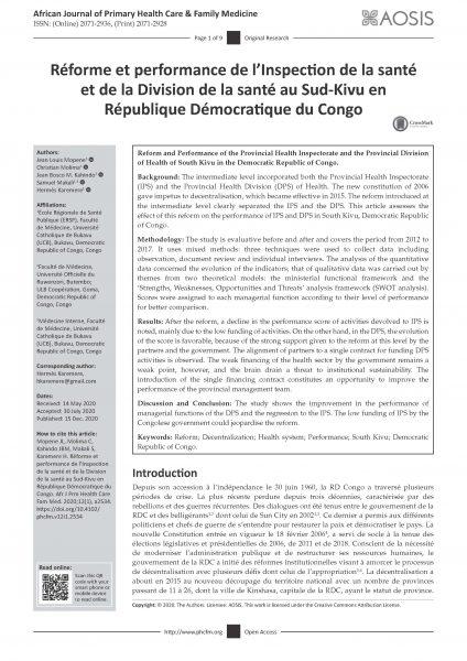 Réforme & Performance Inspection Et Division Provinciale Santé Sud Kivu Page 1