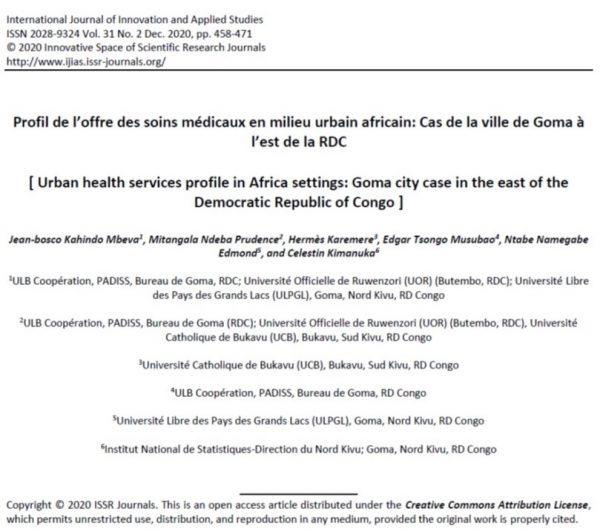 Profil Des Soins Médicaux En Milieu Urbain Africain